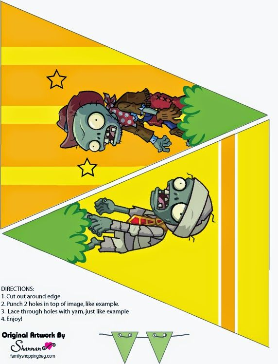 Plantas vs. Zombies Free Printable Bunting.