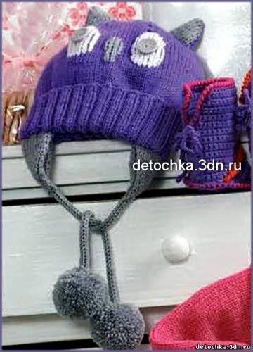 Вязаная детская шапочка Сова и вязаные сапожки - Вязание шапок и шарфов для девочек - Вязание девочкам - Вязание для малышей - Вязание для детей. Вязание спицами, крючком для малышей