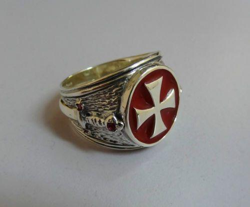Ritter Templer Freimaurer Tempelritter Kreuz Silber 925 Ring