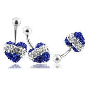 Kolczyki do pępka z kryształkami Swarovskiego serca