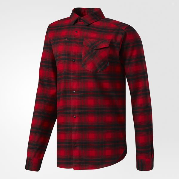 The button-down flannel shirt has a storied history. The former workday staple was rediscovered by those who were scouring secondhand shops for cheap digs. Snowboarders adapted it for the mountain, and now it's back on the streets. Built of stretchy climalite® fabric, this men's flannel shirt is warmer than a plain tee but lighter than a jacket. It features adjustable cuffs and a slightly longer hem. Wear with the full snap-button front open to show off your favorite tee.