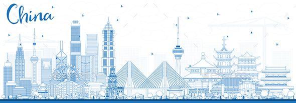 Outline China City Skyline