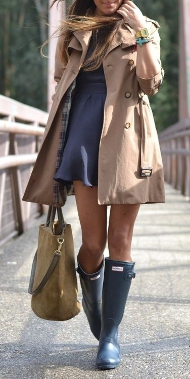 Fall style - short trench coat, dress and matching colour rain boots..please add some opaques, she will turn blue!