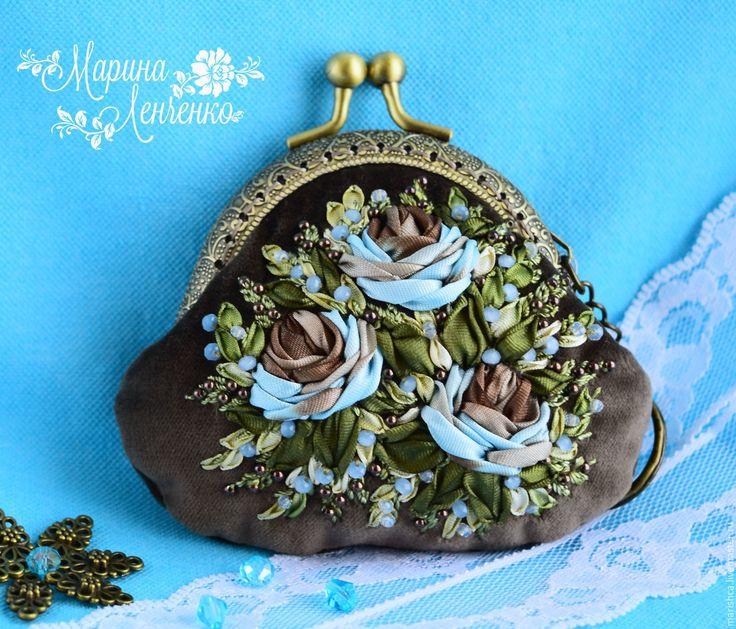 """Купить Кошелёк с фермуаром """"Бирюза"""" - бирюзовый, цветочный, бирюза с шоколадом, бирюза с коричневым, голубой, розы"""
