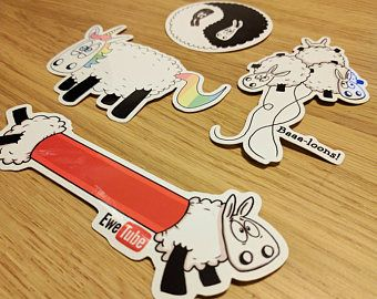 Set van 4 Stickers van de schapen, Laptop stickers, ipad stickers, grappige stickers, schapen geschenken, dierlijke stickers, Journal stickers, leuke stickers,