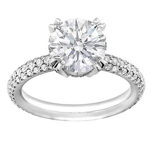 Platinum Round Diamond Engagement Ring with Pave Set Etoil Style Three-row Diamond  Band, 1.10 tcw | Products I Love | Pinterest | Round diamonds, ...