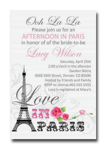 25 best ideas about paris bridal shower on pinterest for Paris themed invitations bridal shower
