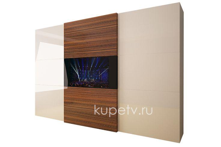 Шкаф-купе с телевизором в натуральном шпоне.