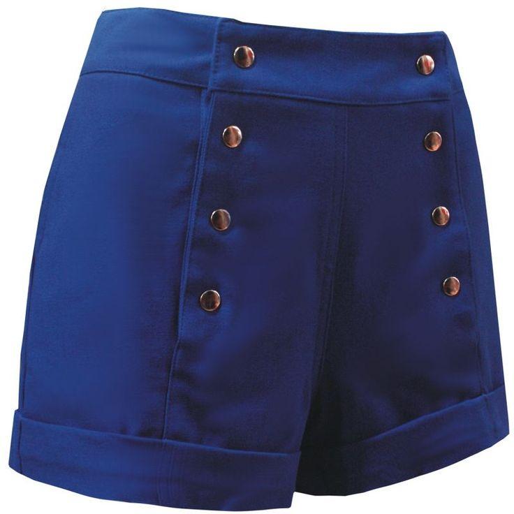 Shorts Azul Bic de Oito Botões Prateados. - Atelier Luiza Pannunzio