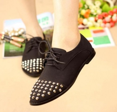 Vintage Rivets Lace Up Women Flat Shoes on BuyTrends.com, only price $22.92