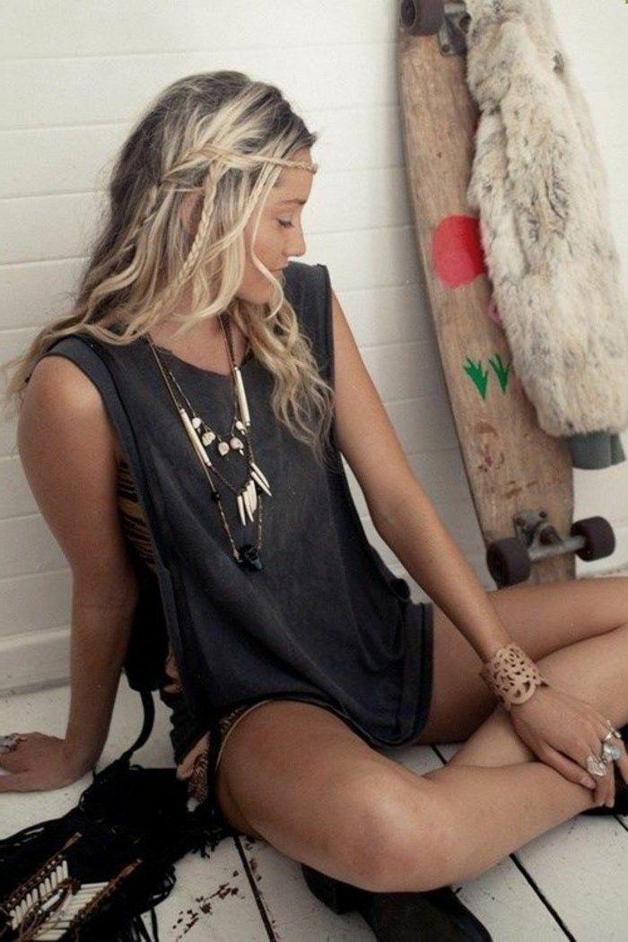 coiffure romantique esprit sauvage ete skateboard tresses bijoux hippie style