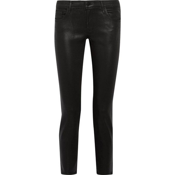 J Brand Hipster coated low-rise skinny jeans (€145) via Polyvore featuring jeans, super low rise skinny jeans, super skinny low jeans, super skinny jeans, colorblock jeans and low cut skinny jeans