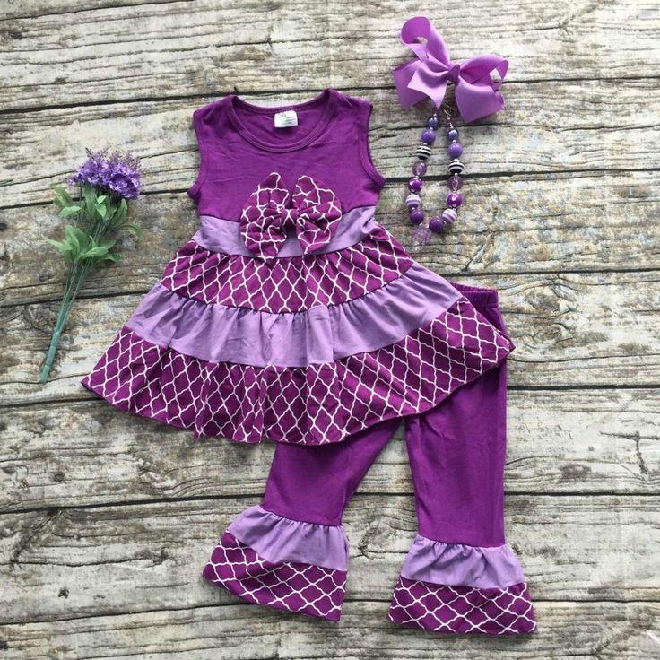 2016 летом хлопковой капри симпатичная одежда девушка девушки бутик наряды детей фиолетовый летом наряды с аксессуарами
