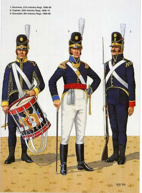 Line Infantry. L to R Drummer 21st Infantry Regiment 1806-08, Captain 24th Infantry Regiment 1806-10 & Grenadier 6th Infantry Regt 1806-08.
