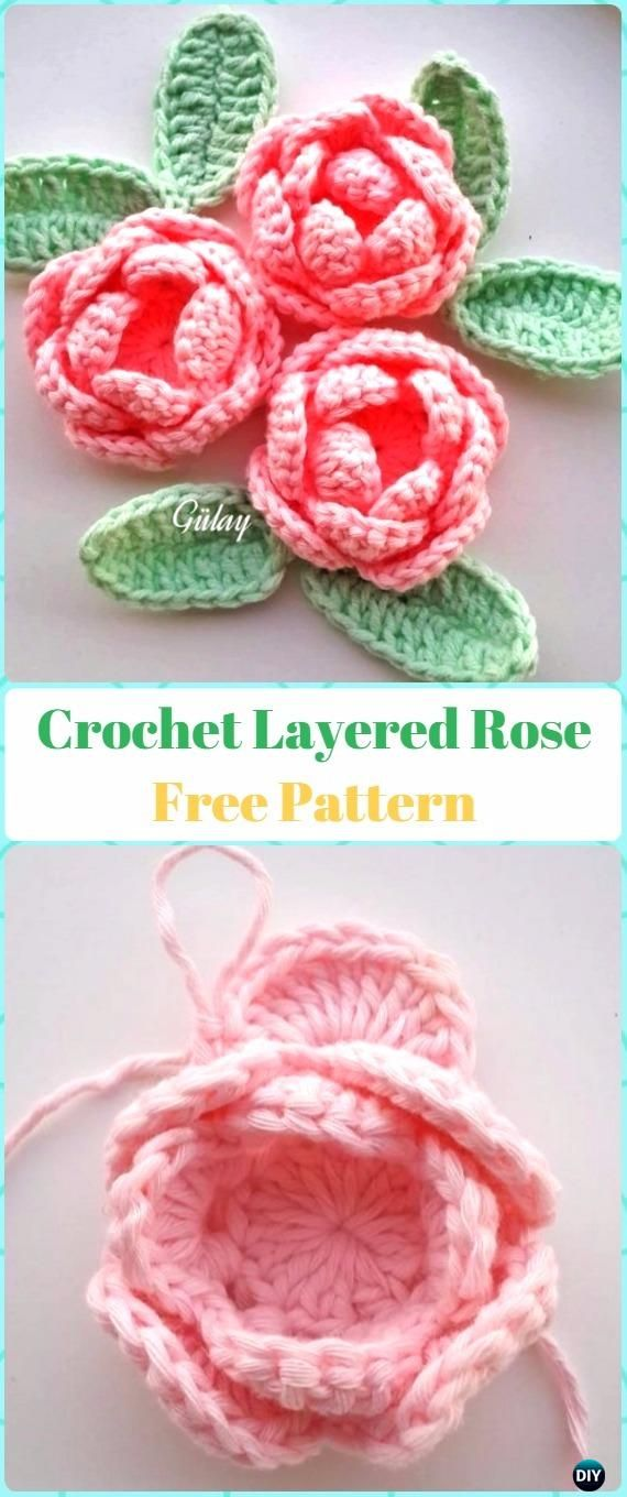 Layered Crochet 3D Rose Flower Free Pattern