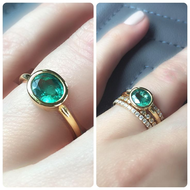 Emerald Ring . Bezel Set Oval Cut Natual Zambian Emerald Ring . Emerald Engagement Ring. Stacking Ring. 14k 18k Solid Gold Yellow Rose White by Polamai on Etsy https://www.etsy.com/listing/515928142/emerald-ring-bezel-set-oval-cut-natual