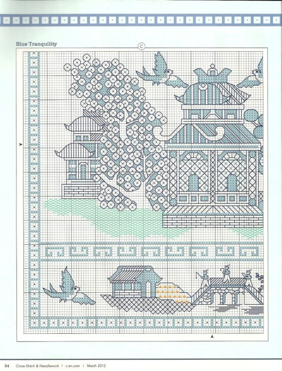 blue tranquility free cross stitch asian/Chinese themed sample part 1 love the pagoda