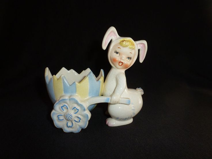Adorable child in bunny costume pushing an eggshell wheelbarrow. Wheels are flowers. Dated 1956. Auctiva's FREE Counter. No chips or cracks but has crazing throughout. Solid piece. | eBay!