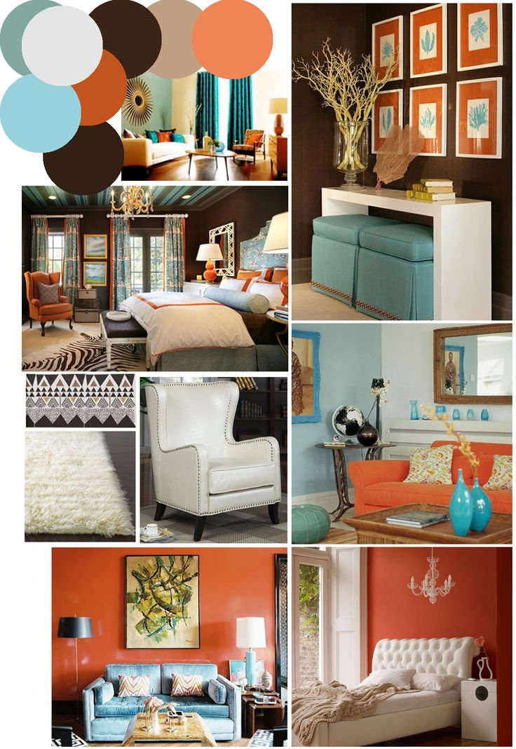 colors to go with burnt orange curtains | Mr. Kate | color palette inspo: chocolate brown, coral and robin's ...