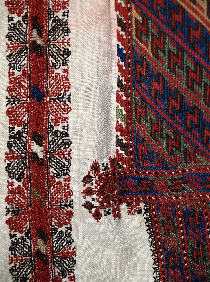 Detail of embroidery on shoulder of chemise, Romanian, ca. 1925-45, from the Princess Ileana of Romania Collection at the Kent State University Museum, KSUM 1987.15.4.