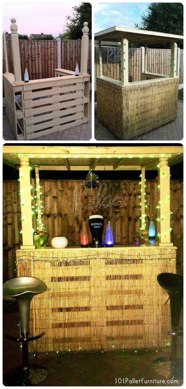 1000 ideas about outdoor pallet bar on pinterest pallet for Pallet furniture bar