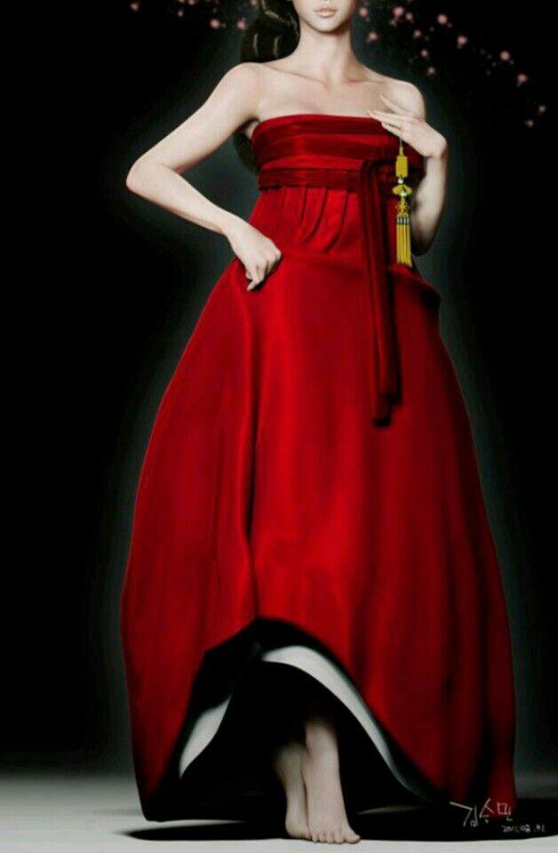 한복 deep red hanbok-inspired dress