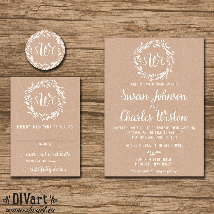 Rustic Wedding Invitation Suite, Response Card, Monogram   Rustic, Barn  Wedding, Garden Wedding, Wreath, Brown Paper, Kraft Paper   Susan