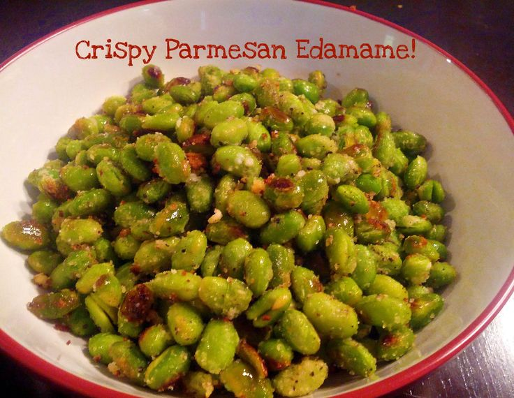 Satisfy a salty snack craving with crispy parmesan edamame. Unlike chips or popcorn, edamame has over 10g of protein will help keep you full! Seriously addicting!