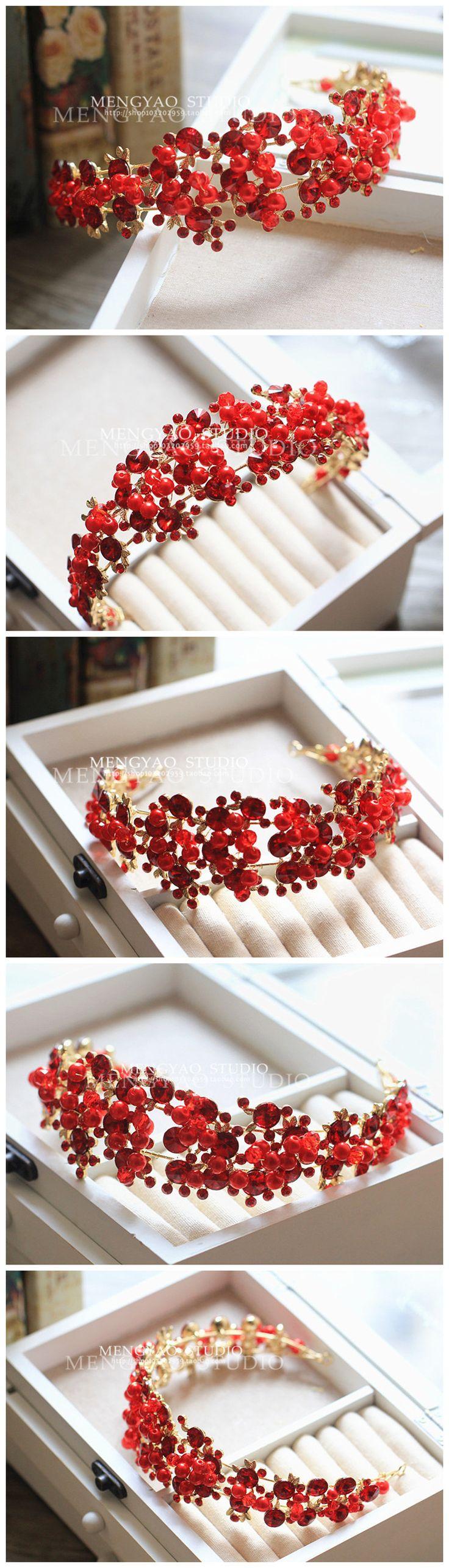 Корейский невесты головного убора красная корона жемчужина горный хрусталь аксессуары для волос ленты для волос студия Сю одежда костюм платье с драгоценностями - Taobao