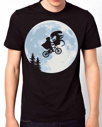 New Design E.T. Alien Funny Classic Movie Men Black T-Shirt from Soponyono