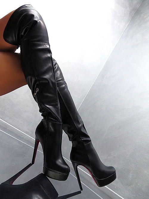 Damen Schuhe Overknee Stiefel designer High Heels 1707 Schwarz 39