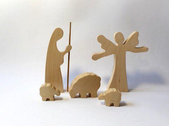 Natività legna Angel, pastore e pecore in legno per presepe legno
