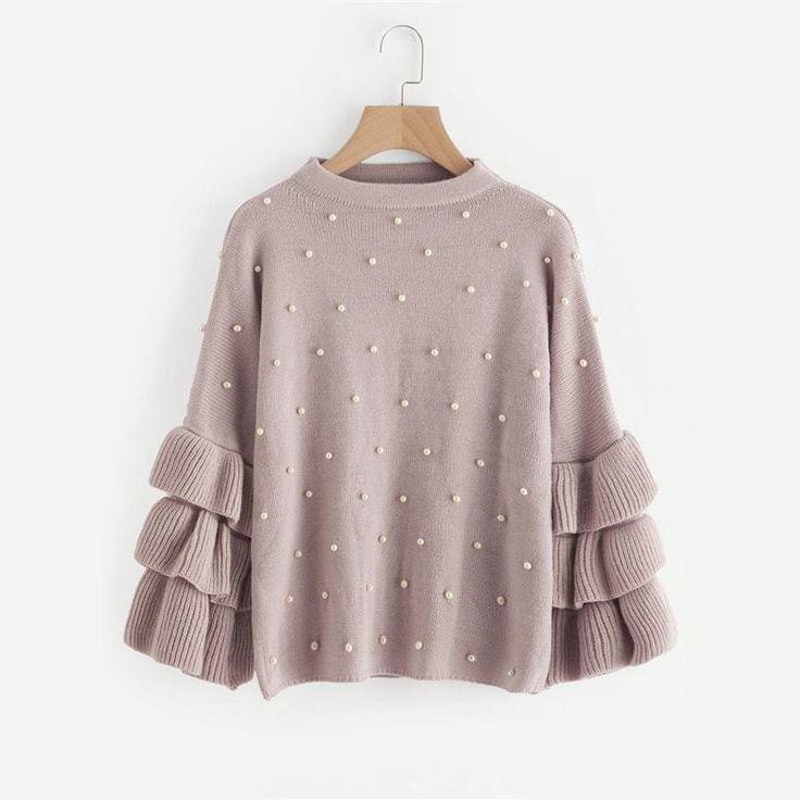 Cute Pearl Ruffle Sleeve Pullover