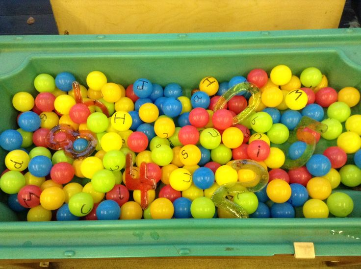 Letter pool: play balls with letters on them for spelling or letter recognition. Early years/key stage 1