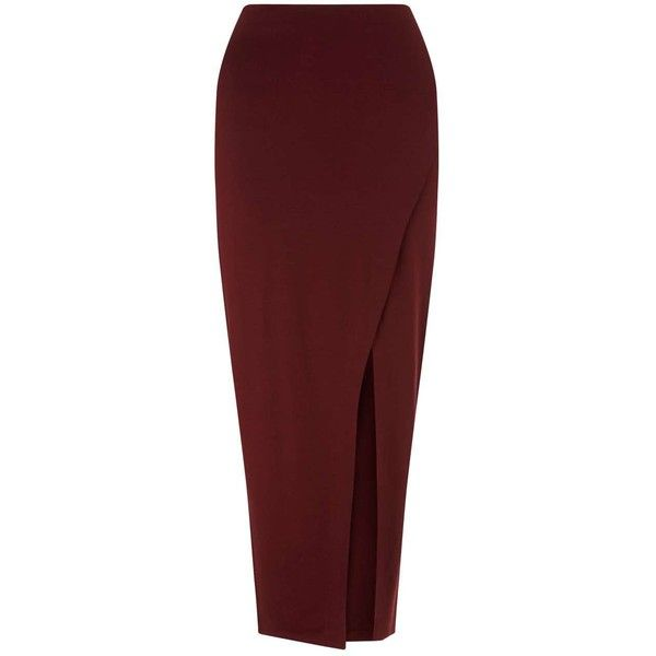 Miss Selfridge Burgundy Maxi Side Split Skirt (£16) ❤ liked on Polyvore featuring skirts, bottoms, maxi skirt, assorted, red wrap skirt, wrap skirts, floor length maxi skirt, maxi skirt jersey and jersey maxi skirt