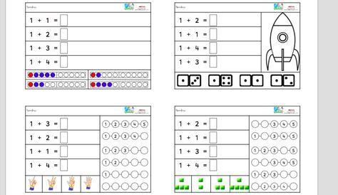 Primer cuaderno de iniciación a la suma 1+ con cantidades hasta el 5. 5 modelos de fichas diferentes. Te puede interesar: ¿Cuánto guardo en mi bolsillo? Actividad de iniciación a la suma INICIACIÓN A LA SUMA 45 cartas de iniciación de sumas hasta 10 incluye plantilla CUADERNO CON MÁS DE