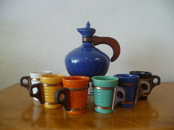 Bauer Pottery Set of 6 Tumblers and Coffee Pot Pitcher Carafe Ring Ware and Plain Ware Made in USA Pottery Vintage California Pottery