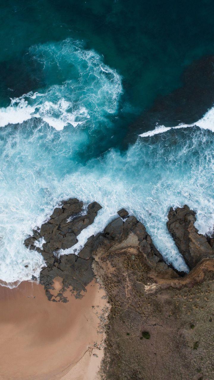 Beach Coast Sea Waves Sea Aerial View 720x1280 Wallpaper Aerial View Nature Wallpaper Sea Waves Nature drone photo sea waves beach