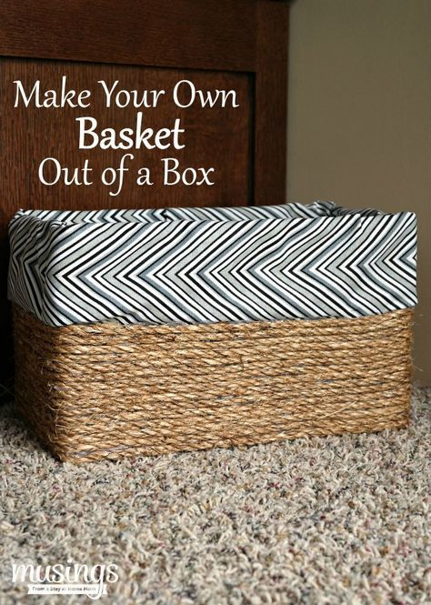 A super easy, no sew way to create the look of a lined basket without the extra work! Make your own basket out of an ordinary cardboard box with this awesome DIY project.