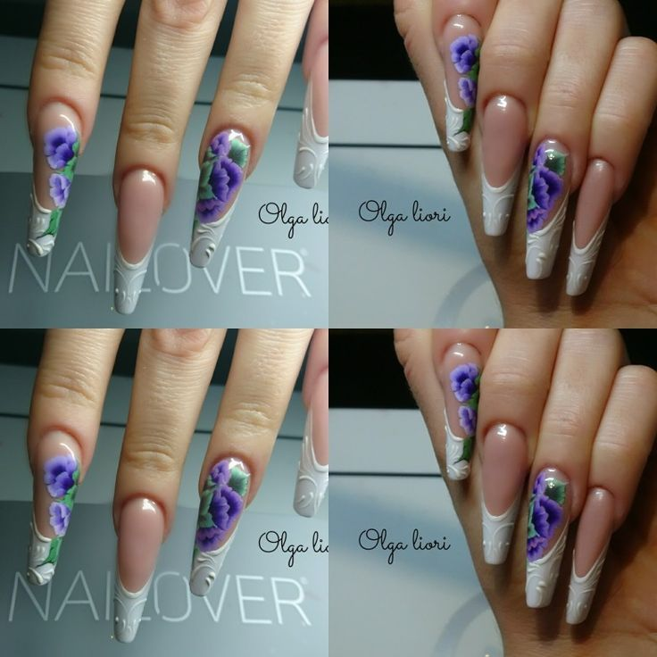 French nails one stroke flowers