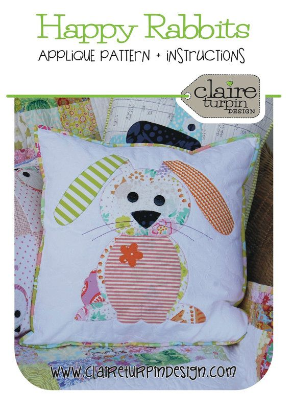 Happy Little Rabbits Applique Cushion PDF by claireturpindesign