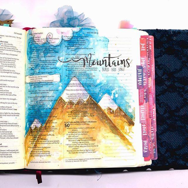 You mountains, burst into song! 🎶 ________________ .  #art #ikmetliefde #finished #aquarelle #aquarel #windsorandnewton #pencil #posca #biblejournaling #biblejournalingnl #bibleart #journaling #kleurjebijbel