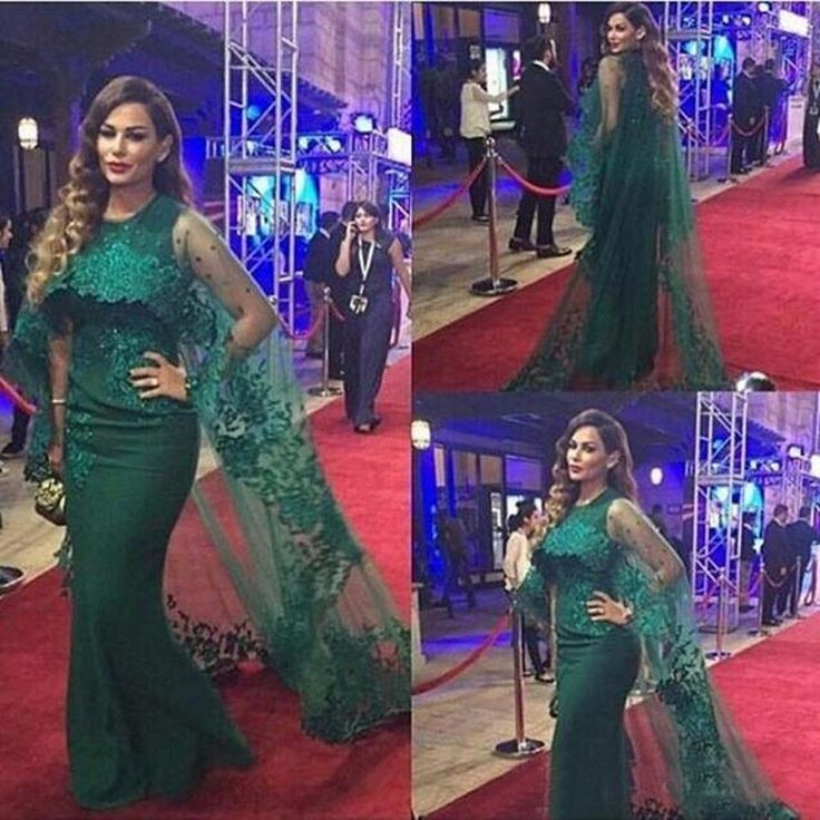 Dubai Abaya Evening Dress With Cape Mermaid 2017 O-Neck Middle-East Plus Size Green Lace Kaftan Prom Dress Muslim Formal Dress