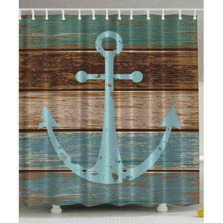 Nautical Anchor Rustic Wood Water Soap And Mildew Resistant Teal Shower  Curtain   Walmart.com