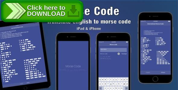 [ThemeForest]Free nulled download Morse Code from http://zippyfile.download/f.php?id=49208 Tags: ecommerce, app, code, ios, ipad, iphone, Morse, morse code, swift