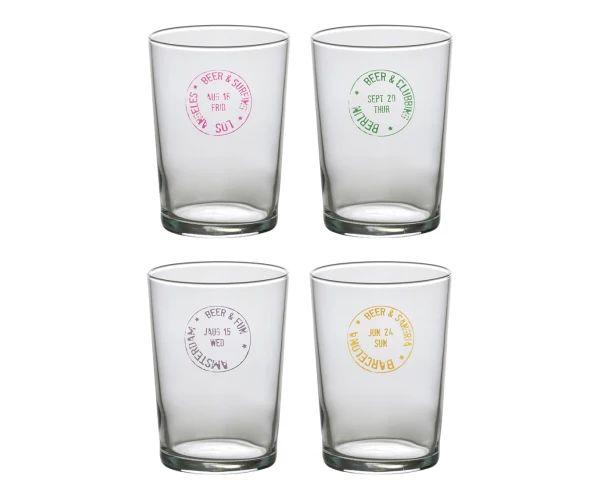 Set di 4 bicchieri assortiti da birra in vetro, 12x8 cm