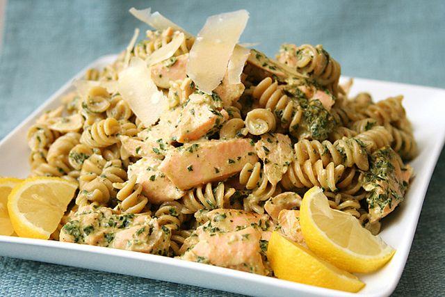 Pasta with Salmon in Pesto Sauce salmon pesto pasta 3 by crumblycookie, via Flickr