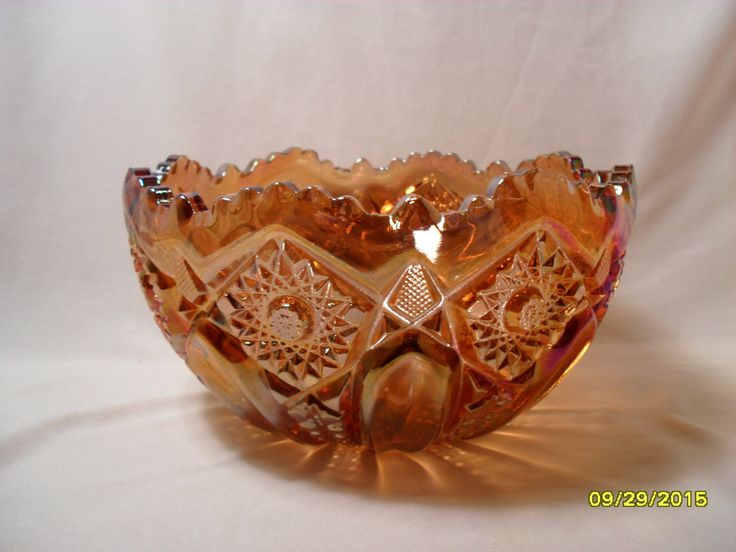 Super Smith oe L E Smith Glass Quintec Pattern Brown Carnival Glass Serving Bowl by TheBunnyHutch on Etsy
