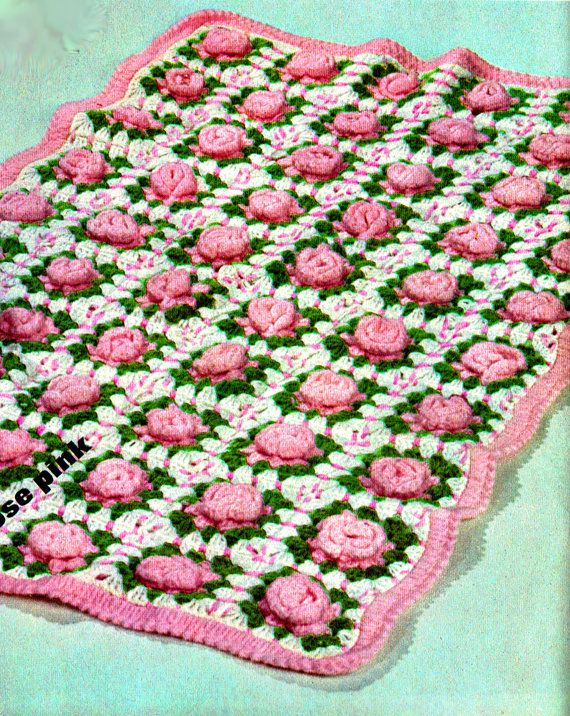 PDF Vintage 1960s Baby Pretty 'Rose Garden' Granny-Square Blanket Crochet Pattern with Blue Lacy Shawl & Bonnet LOOKx