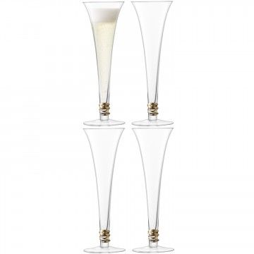 Prosecco Flute x 4 - Ideal for sparkling drinks, these handmade, hollow stem flutes have a stylish spiral of handpainted glass encircling the base. Available in gold and platinum.